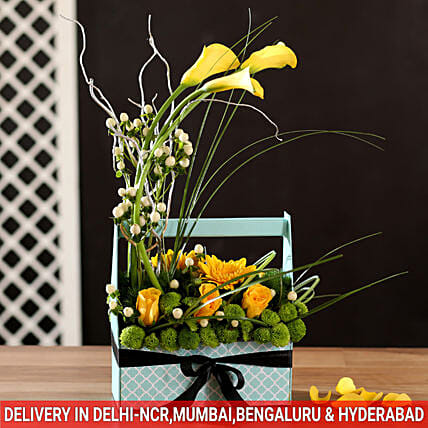 peaceful calla lily and gerbera arrangement online