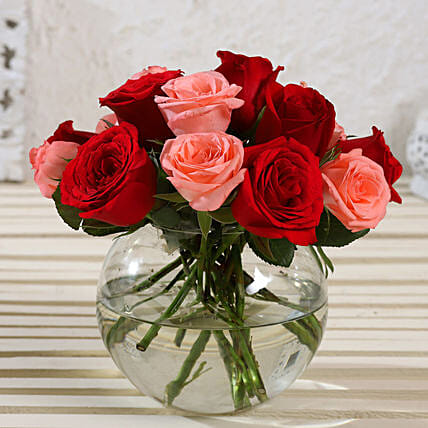 Exotic Mixed Roses Vase Arrangement:All Flowers