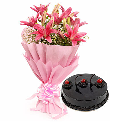 Fairest Of All - Bunch of 6 pink colour asiatic lilies in a 2 layer paper packing and 1 kg chocolate truffle cake.