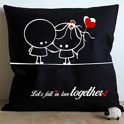 Falling In Love Cushion-black and white cushion Falling in love:Home Decor to Hyderabad