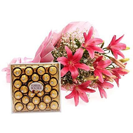 Falling In Love - Bunch of 6 pink colour asiatic lilies in a 2 layer paper packing with pink ribbon bow and Ferrero Rocher chocolates.
