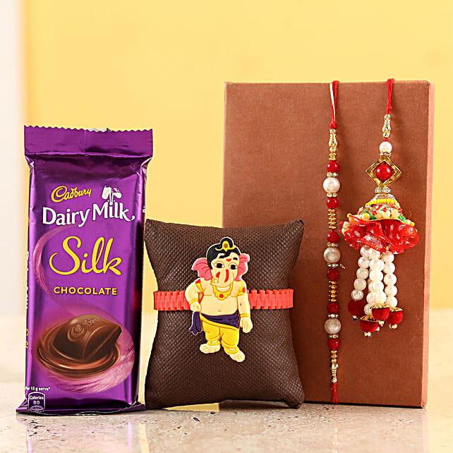 online family pearl rakhi set