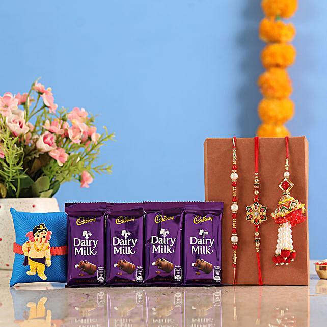 Online Family Rakhi Set And Dairy Milk