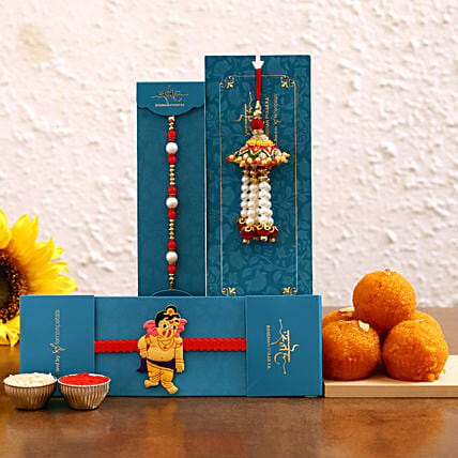 Family rakhi set and motichoor laddu online