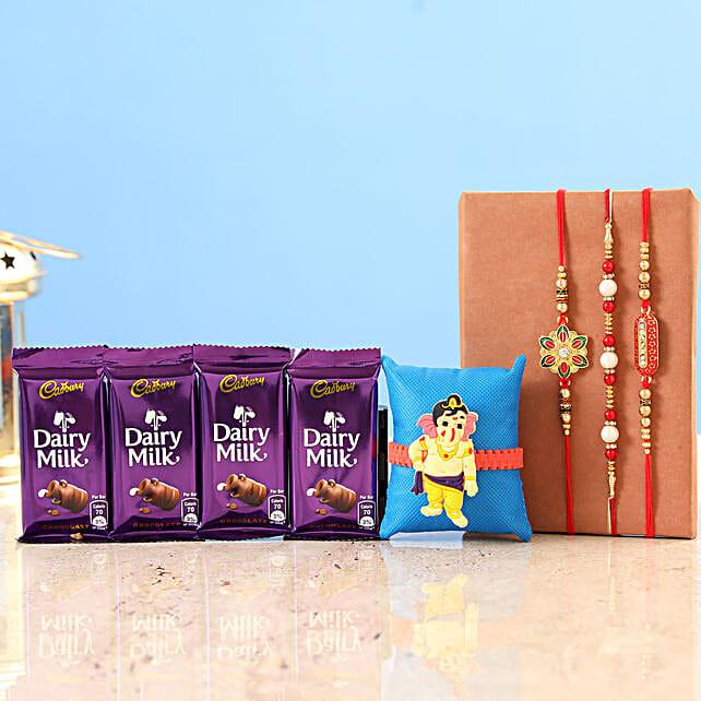 Family Rakhi Set with Chocolates Onlins