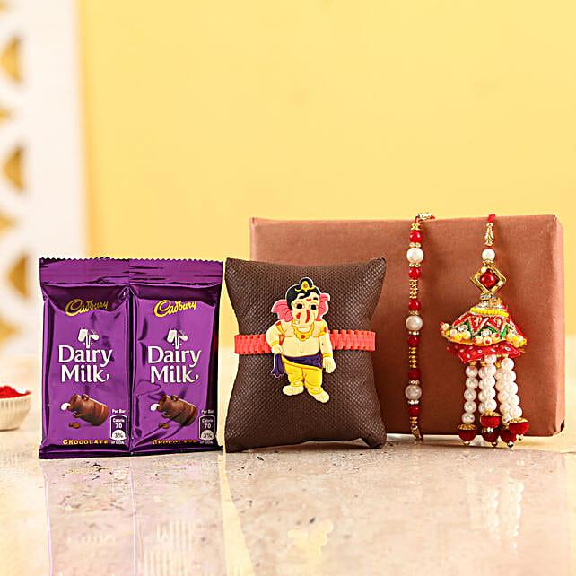 Family Rakhi Set With Dairy Milk Chocolates