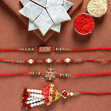 Order family rakhi set and kaju katli online