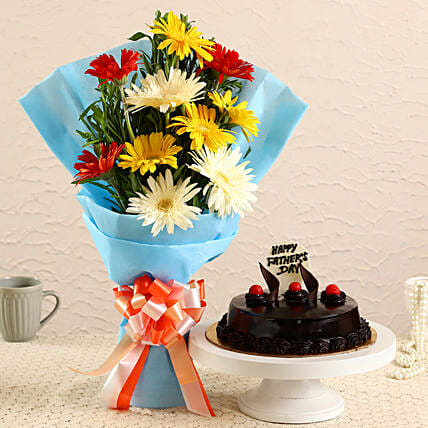 Father's Day Mixed Gerberas Bouquet and Cake:Gift Combos For Father's Day
