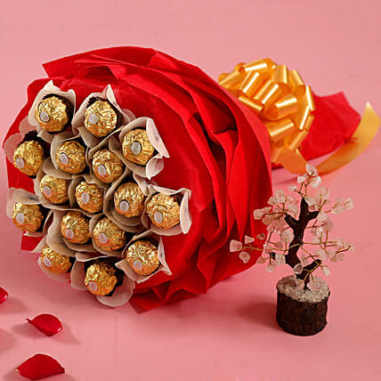 Ferrero Rocher Bouquet with Wish Tree for Her:Combo Gifts