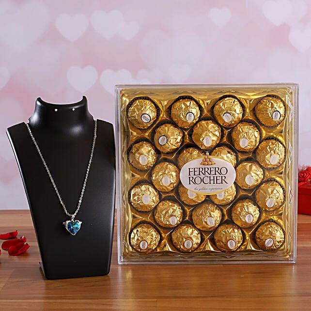 Ferrero Rocher Chocolate Box & Heart Special Necklace Online