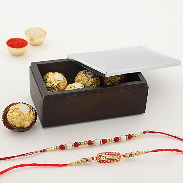Ferrero Rocher & Rakhis With Japanese Origami Tissue Box:Rakhi With Arttd'inox Gifts