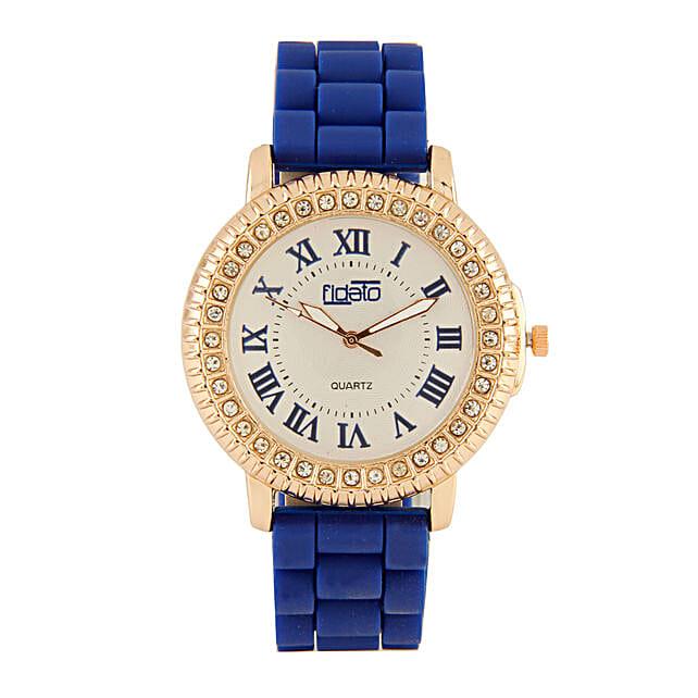 Fidato Blue Studded Watch For Women