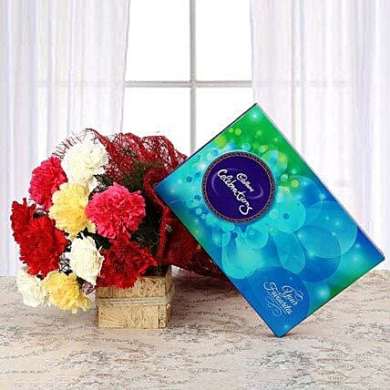 Flavourful Rainbow - Bunch of 10 mix color carnations and 119 grams Cadbury Celebrations gift pack.