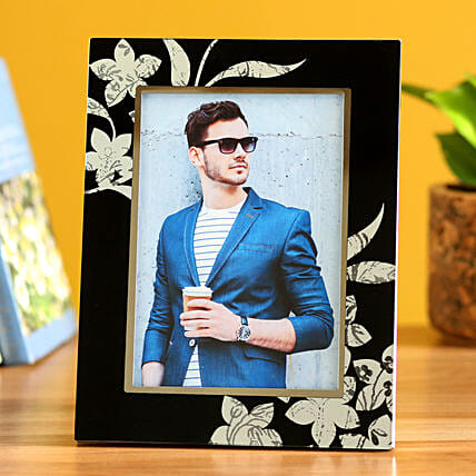 Online Floral Black Personalised Photo Frame