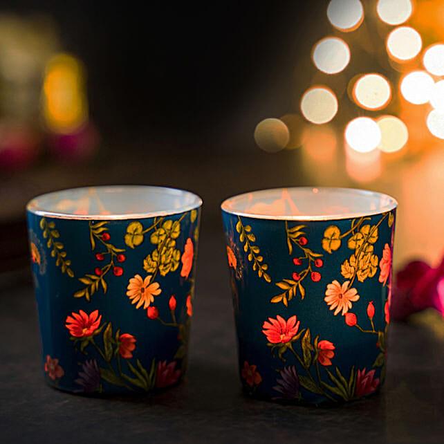 Online Floral Bliss Blue Candle Votives