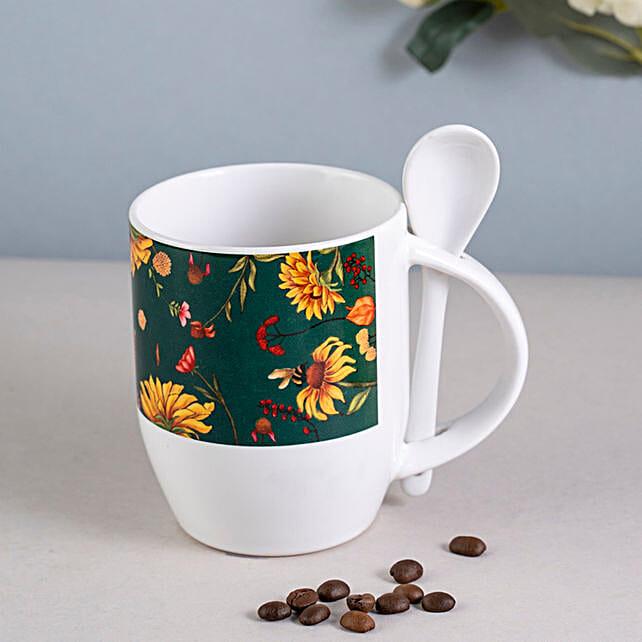 Online Floral Spoon Mug