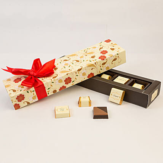 delicious chocolates in floral box