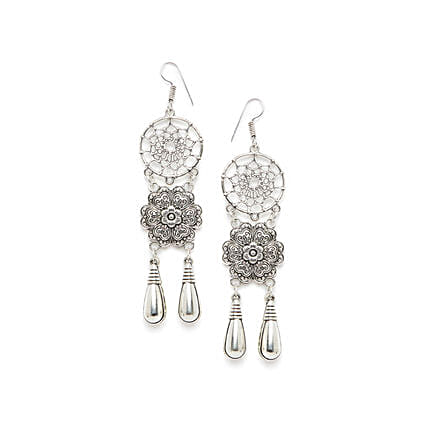 Floral Dream-Catcher Silver Earrings:Send Jewellery Gifts