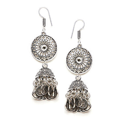 Floral Long Earrings With Hanging Coins