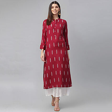 Floral Motif A Line Kurta with Dupatta:Apparel Gifts
