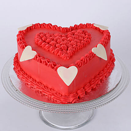 Red heart shape cake with tag 1kg:Gifts to Solapur