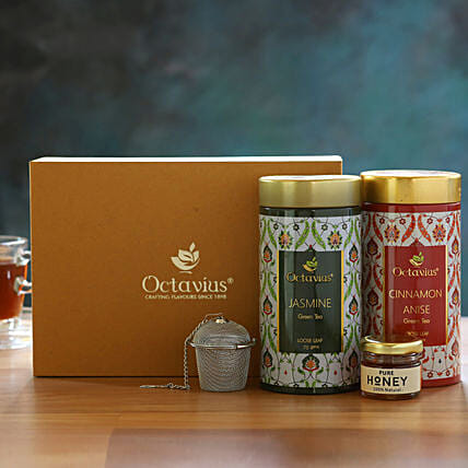 Floral Wellness Gourmet Tea Gift Box:Doctors Day Gift Hampers