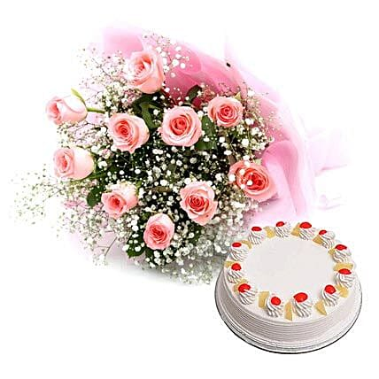 Flower Hamper - Bouquet of 10 pink roses in paper packing:Flowers N Cakes - birthday