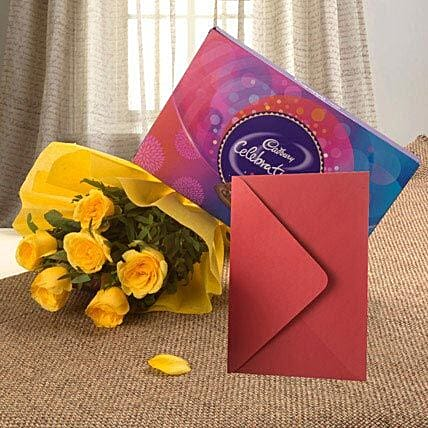 Flower Hamper N Greeting Card - Bunch of 6 Yellow Roses, 119gms Celebration Pack with Greeting Card.:Send Flowers & Cards for Birthday