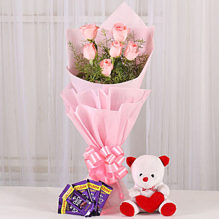Flowers n Soft toy - Bunch of 6 Pink Roses with 5 Cadbury 14gm each & 6inch Cute Soft toy. womens day women day woman day women's day:Flowers & Teddy Bears for Anniversary