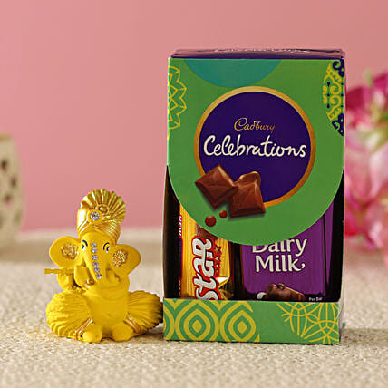 Flute Ganesha Idol & Cadbury Combo:Send Diwali Gifts for Him