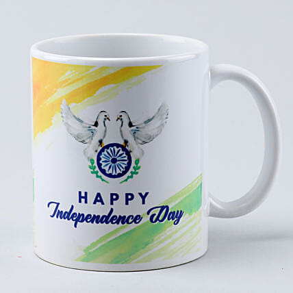 flying dove white printed mug