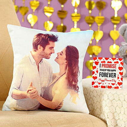 Forever Love Cushion Table Top Combo:Gift Combos For Promise Day
