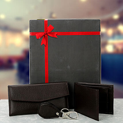 Combo of black ladies wallet, gents wallet and keyring:Send Leather Gifts