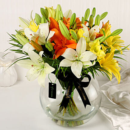 Online Mix Lilies In Fishbowl Vase:Flower Arrangement In Vase