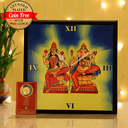 Online Laxmi Ganesh Wall Clock For Diwali:Laxmi Ganesh Idol