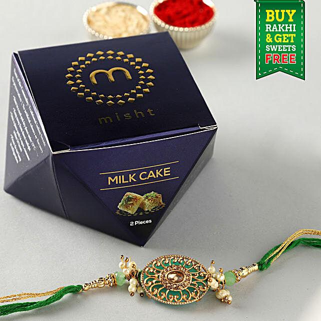 Free Misht Milk Cake With Green Designer Rakhi