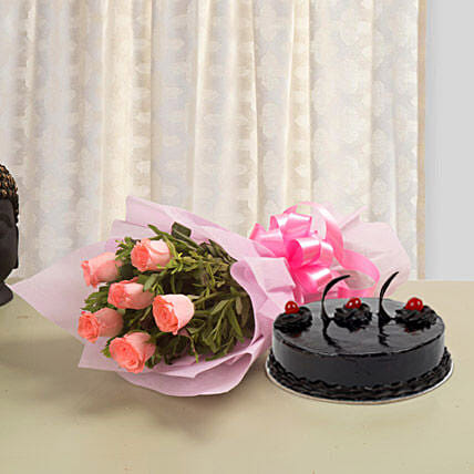 From The Heart - Bunch of 6 Pink Roses with 500gm Chocolate:Cake and Flower Delivery