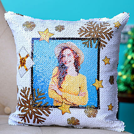 Frosty Christmas Personalised Sequin Cushion