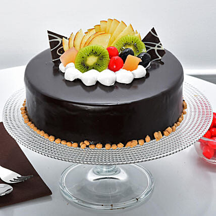 Fruit Chocolate Cakes Half kg Eggless:I Am Sorry Cakes Delivery