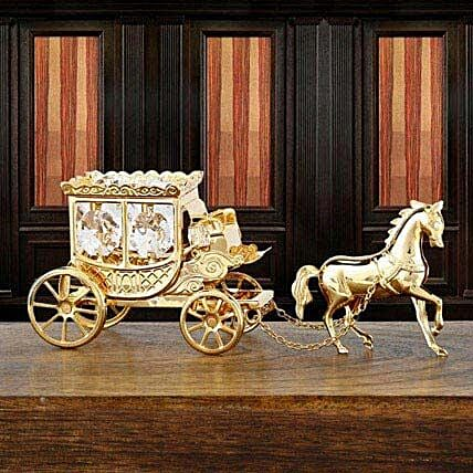 Swarovski horse with carriage:Gold Plated Gifts