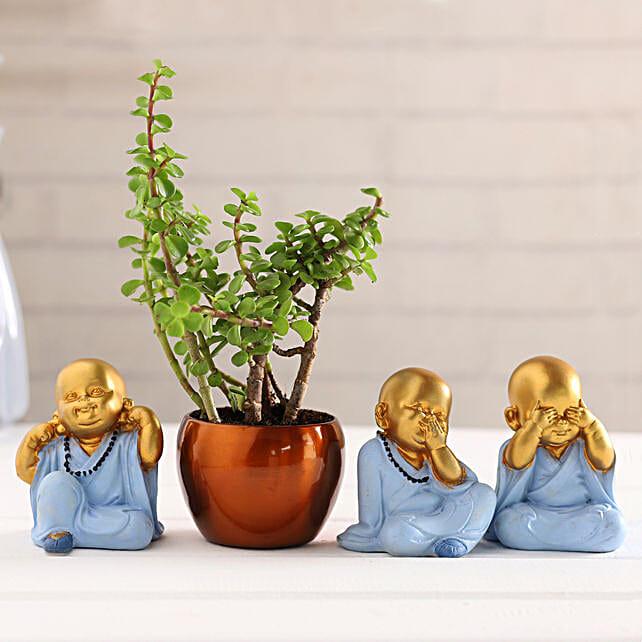 Gandhi Monk Idols & Jade Plant