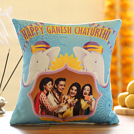 Personlised Photo Cushion Ganesh Chaturthi