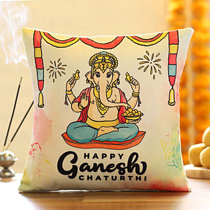 Happy Ganesh Chaturthi Cushion:Ganesh Chaturthi Gifts