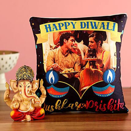 online happy diwali photo cushion n ganesha idol
