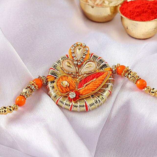 Ganesha Orange Zardozi Rakhi