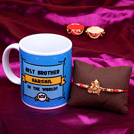 ganesha rakhi with printed mug