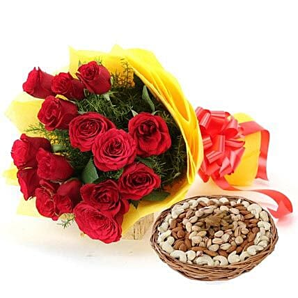 Red roses bouquet and dry fruit combo