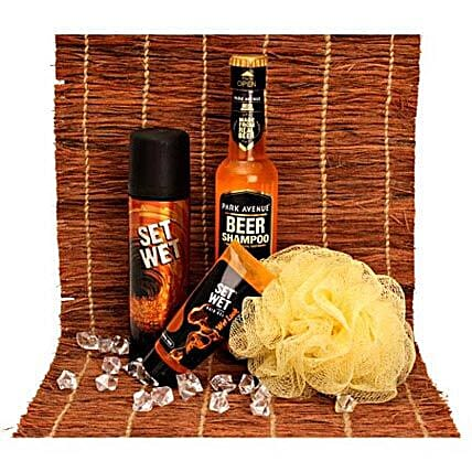 Gifts For Macho Man-Set Wet Macho Deodrant 150 ml,Set Wet Hair Gel 50 ml,Beer Shampoo 200 ml,1 yellow loofa