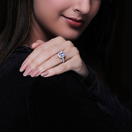GIVA Silver Classic Solitaire Ring:Jewellery Gifts