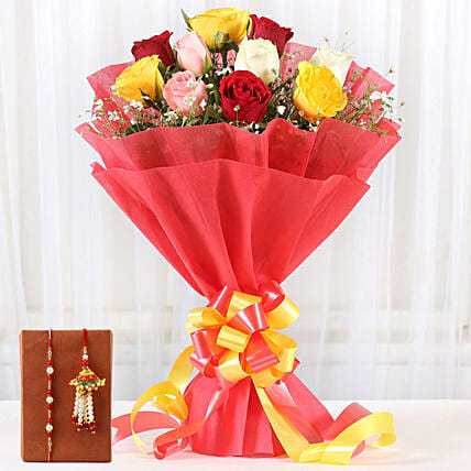 Bunch of Mixed Roses and Rakhi Online